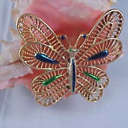 GERRYS Peacock Enamel Stones BUTTERFLY Figural Brooch