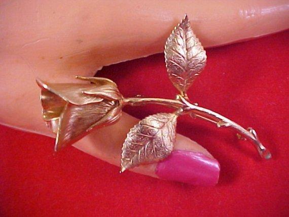 Vintage Textured Gilt Gold LONG STEM ROSE Brooch
