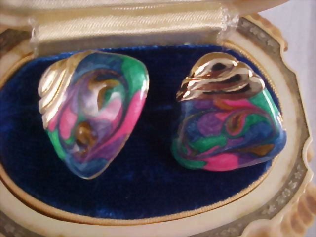 Beautiful Molded Cloisonne Gold  Plate Clip Earrings