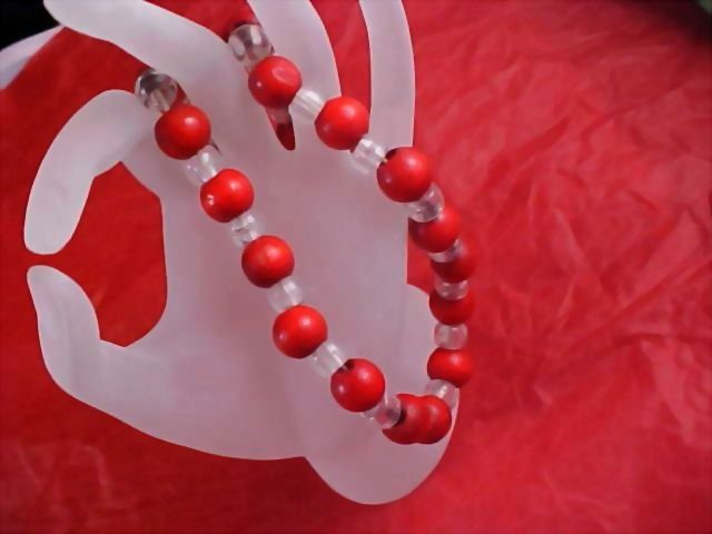 1950'S Red Wooden Beads and Clear Lucite Spacer Necklace