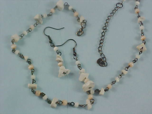 Quartz & Moonstone Bead  Demi Parure - Necklace and Earrings
