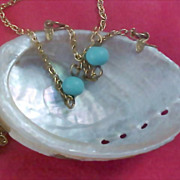 Genuine Pearl Clam Shell - Gilt Gold Chain & Turquoise Bead Necklace