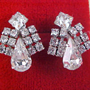 Old HOLLYWOOD Art Deco Articulated Diamante Screw Back Earrings