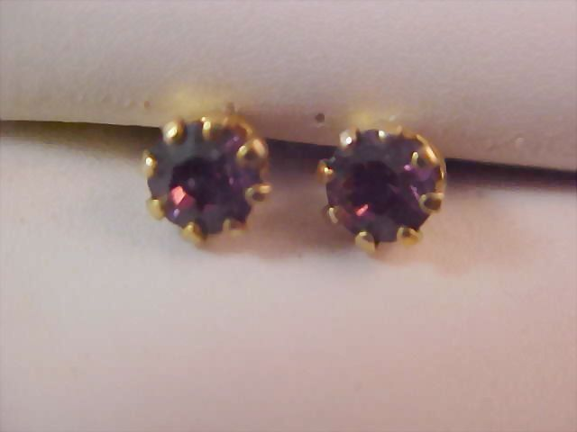 Deep Purple AMETHYST  Austrian Swarovski  Crystal Stud Earrings New/Old Stock