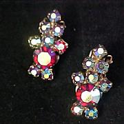 D & E JULIANA~ Fabulous Lavish Aurora Borealis Clip Earrings