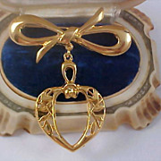 Dangle HEART and BOW Gilt Gold Filigree Watch  Brooch/Pin