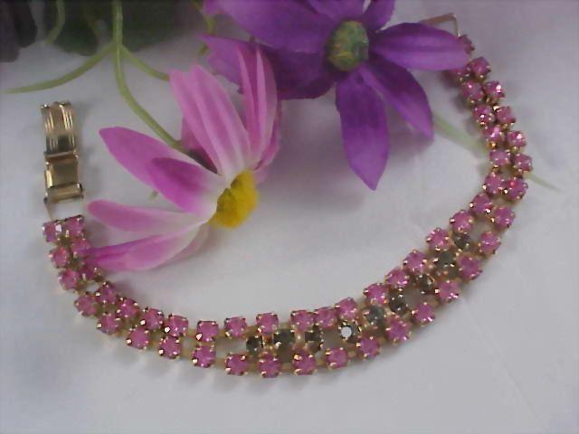 SALE -  Lavish Pink Sapphire Rhinestone Chatons & Black Diamond Gold Plate Bracelet