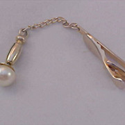 1950's HICKOK ~  Simulated PEARL Tie Clasp ~  & Tie Tac  Gold Plate