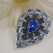 D & E~JULIANA~Exquisite Blue Topaz & Blue Sapphire Rhinestone Exceptional Brooch