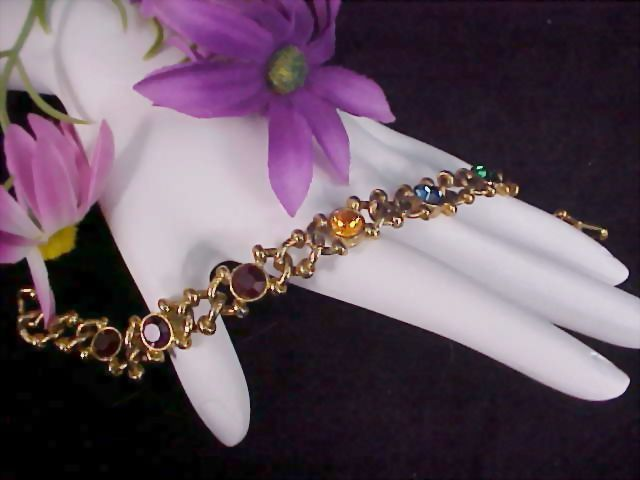 ART DECO  Multi Rhinestone Bezel Set  ~ Gold Plate Link Bracelet ~ Signed USA