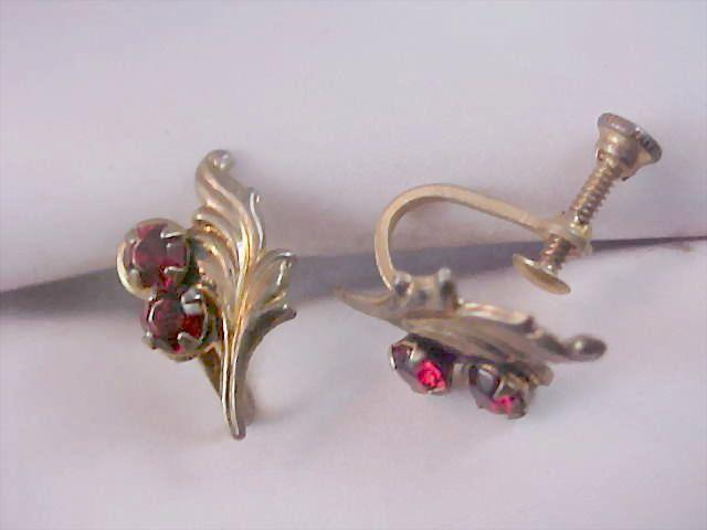 Sterling Silver  & Ruby Red Rhinestone 1930's Screw Back Earrings Earrings
