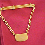Free Ship - 1950's Trademark PAT PEND Mens GOLD PLATE  Dangle Tie Bar Clasp