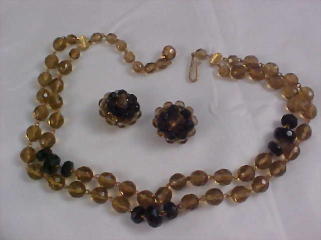 Spectacular  Made In WESTERN GERMANY 2 Strand  Necklace & Earrings Demi Parure