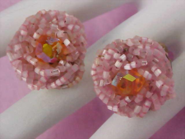 Pink Glass Bead TORSADE & AURORA BOREALIS Signed Japan Clip Earrings
