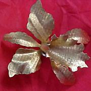 Dynamic Dimensional Gilt Gold ORCHID Brooch