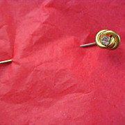 LOVE KNOT~Diamante & Gold Plate Stick Pin