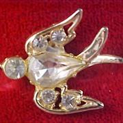 Unsigned CORO Diamante` & gilt gold Swallow Clutch Pin