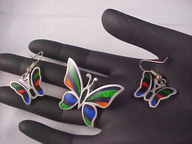 Free Ship ~ Vibrant BUTTERFLIES - Mexico Silver Demi Parure - Brooch & Earrings