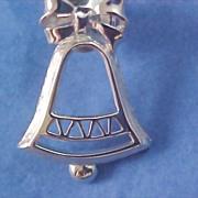 AVON CHRISTMAS BELL - Silver Rhodium Plate Brooch/Pin