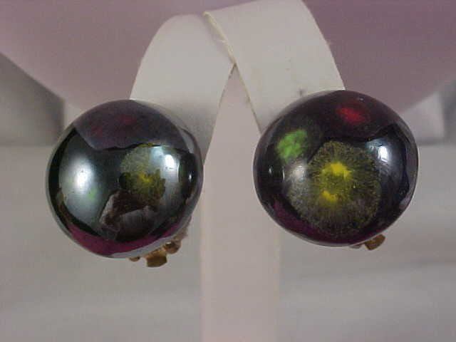 Colorful  - Color Changing Button Earrings - Signed Japan