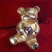 AVON - Teddy Bear : Gold  Plate & Simulated Alexandrite Rhinestone Pin/Brooch