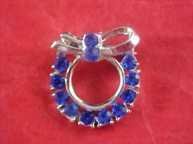 Blue Sapphire Pave` Rhinestone Brooch