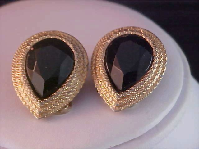 SIGNED ~  RARE G J D ~Ginnie  Johansen Black Pear Cut Stones Clip Earrings
