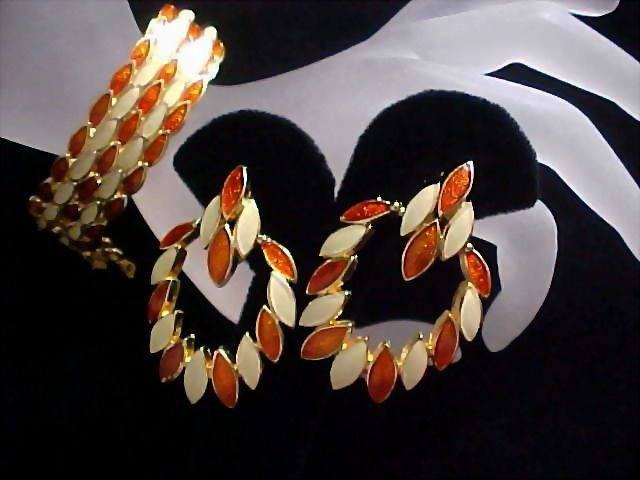 Ivory & Copper Enamel Articulate Bracelet and Clip Earrings Demi Parure