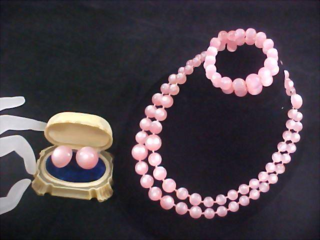PINK MOONGLOW ~ by RICHELIEU - Full Parure - Necklace - Bracelet & Screw Back Earrings