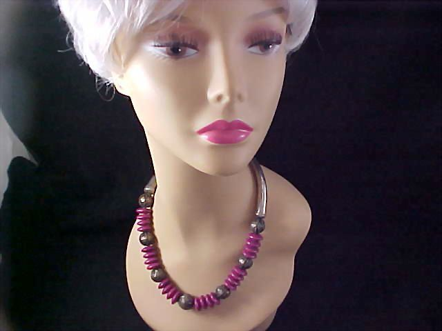 Exotic Silver Plate~Magenta Rondelles~Spacers CHOKER/Necklace