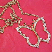 """Designer Signed """"GOLD CROWN"""" Gilt Gold BUTTERFLY Pendant & Chain"""