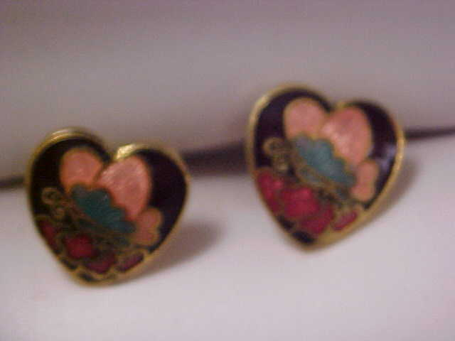 DYNAMIC Cloisonne HEART Post Earrings