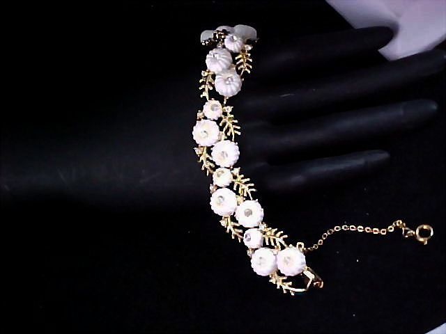 Early CORO Rare  Carved Celluloid Puffy Pillow White & Diamante Link Bracelet