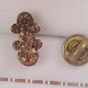 Stunning COGNAC Bezel Set Rhinestones LAPEL/TIE Tac - Gold Plate Setting