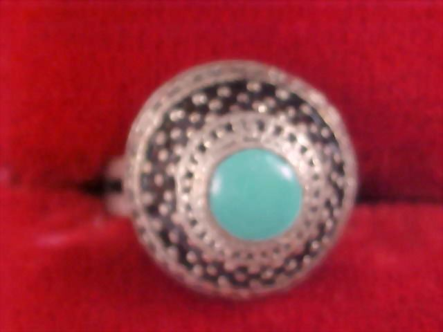 Exquisite Simulated Turquoise Dome Shaped Silver Plate Ring -Size 7 - Adjustable