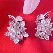 REDUCED~ ART DECO - SALE - Circa 1940- Diamante Silver Rhodium Plate Clip Earrings