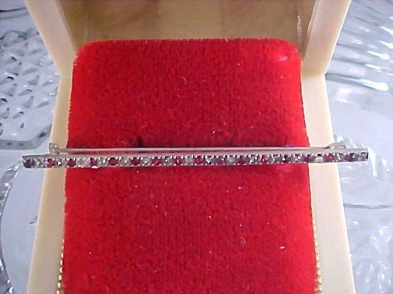 Art  Deco Old 1930's Sterling Bar Pin~ Red  & Clear Stones~ Old C Clasp by Ralfe Rings