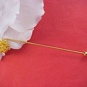 Charming Gilt Gold Extra Long 1960's Stick Pin/ Hat Pin - 4 3/4 inch Length