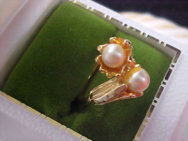 Gilt Gold Simulated Pearl Bypass Ring