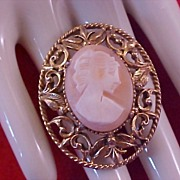 FLORENZA -  Shell Cameo Ivory Color  Silhouette~Coral Shell Stunning Brooch