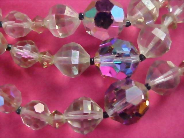 $50.00~Genuine Rainbow Lead Crystal Three Strand Necklace