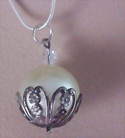Large Simulated Pearl Silver Capped & Sterling Silver Book Chain Necklace