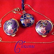 CLOISONNE Puffy Two Sided LAPIS LAZULI  Pendant & Matching Earrings by SITI
