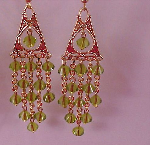 Hand Crafted Swarovski Crystal PERIDOT Bicone Chandelier Long Dangle Earrings