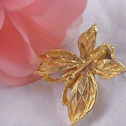 Heavy Gilt Gold  Plated BUTTERFLY Tie  or Dress Clip - 12.3 grams