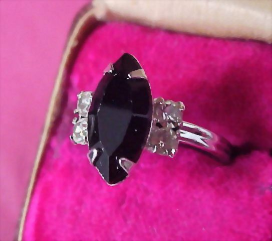 SARAH COVENTRY ~ Onyx  Marquise Cut & CZ Chaton Ring