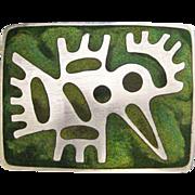 Vintage 1962 Uni David-Andersen Sterling Enamel Norway Bird Brooch Pin Green