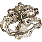 Antique William Kerr Sterling Art Nouveau Woman Brooch Pin 1297