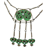 Antique Sterling Enamel Norway David-Andersen Festoon Necklace Secessionist