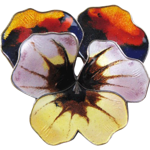 Vintage Sterling Enamel David Andersen Norway 3D Pansy Brooch Large